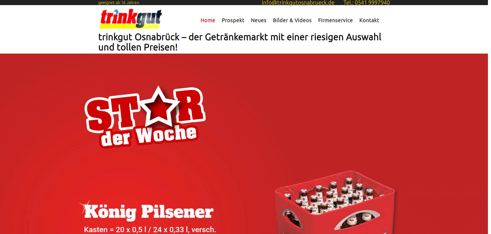 Webseite Digital Signage Getränkesupermarkt trinkgut Bittner e.K.