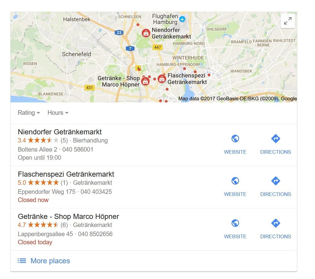 Google MyBusiness Dreifaltigkeit - hier für Standort Othmarschen/Hamburg