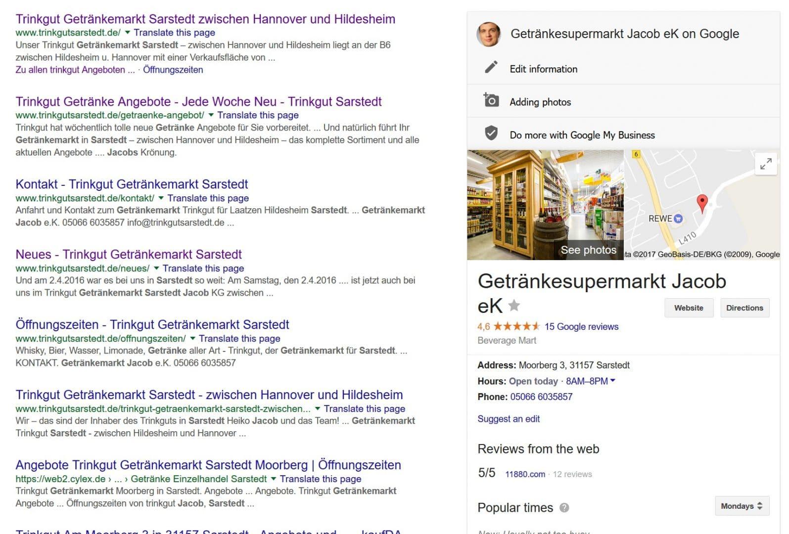 Google MyBusiness Visitenkarte