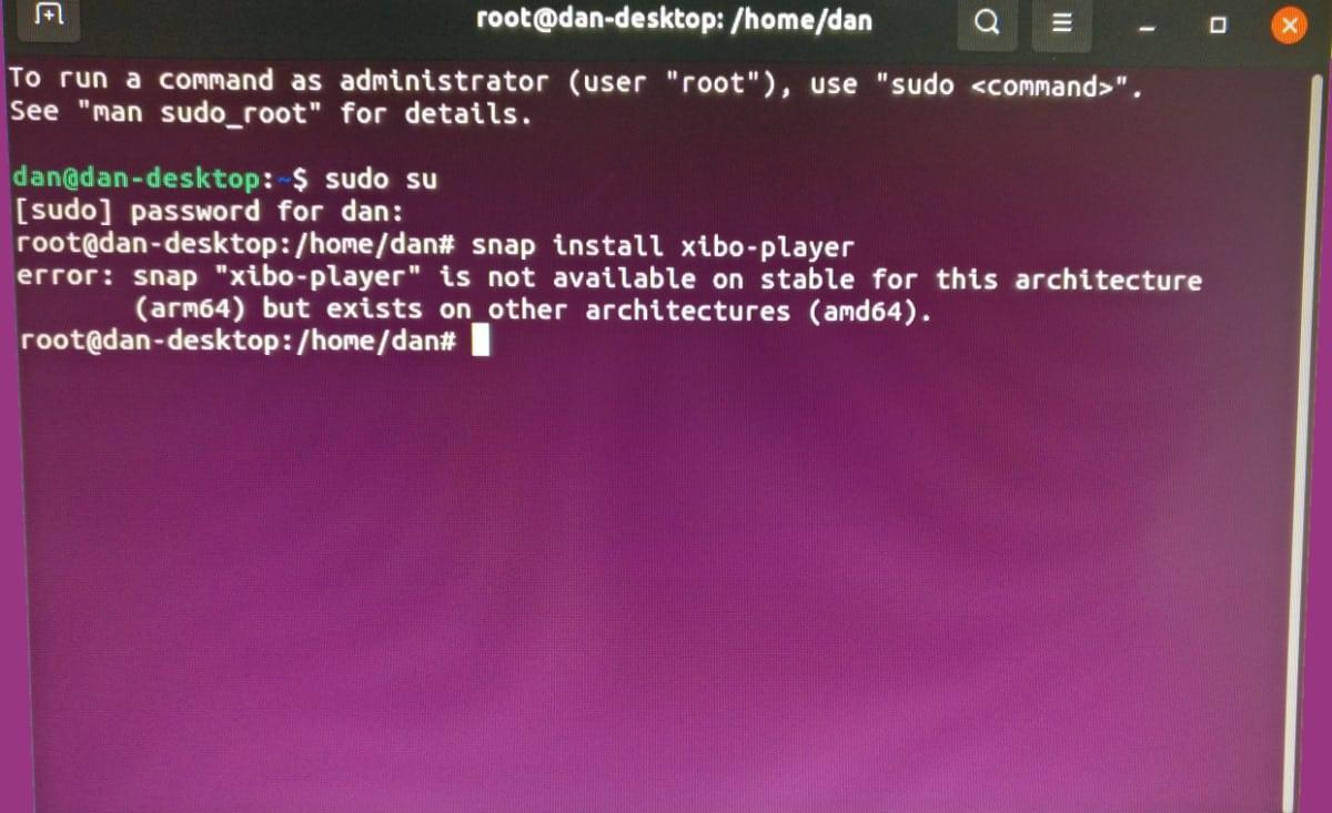 xibo auf Raspberry Pi nicht möglich